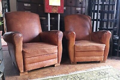 RARE!! Matching Pair Of French Vintage Leather Club Chairs Armchairs - RARE!!