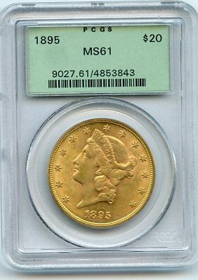 1895 $20 Liberty Head Gold Double Eagle (MS 61) PCGS.  OLD GREEN PCGS HOLDER!!
