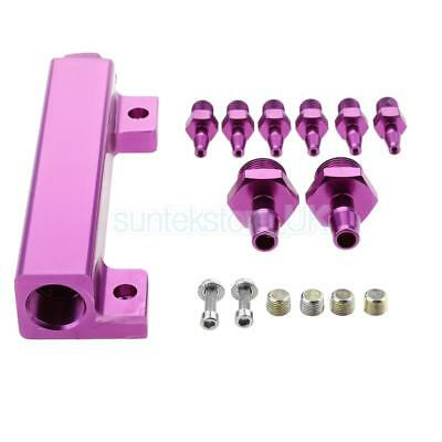 Car 6 Port Vacuum Intake Manifold Wastegate Turbo 1/8 NPT Boost Kits Purple