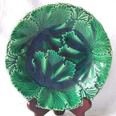 C19Th Copeland Green Moulded Majolica Leaf Plate