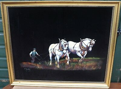 Unusual Large Gilt Framed Painting On Velvet Of Horses & Plough By C Rigby