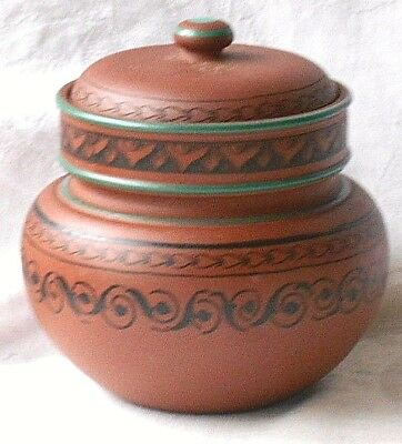 C19Th Prattware Storage Pot And Cover With Painted Black Geometric Pattern