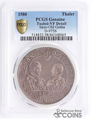 1580 Germany Saxe-Old Gotha Silver Thaler PCGS Genuine Tooled - VF Detail D-9756