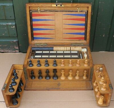 Fantastic Old Wooden Games Compendium Box Includes Chess & Draughts Etc