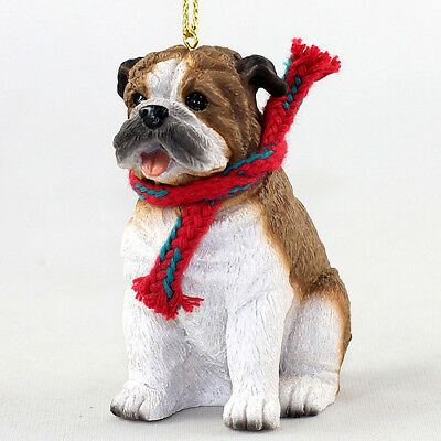 Bulldog Dog Christmas Ornament Figurine w/ Scarf