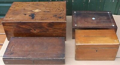 Selection Of 4 Old Wooden Boxes To Tidy Up Or Restore