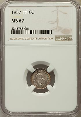 1857 US Silver H10C Seated Liberty Half Dime - NGC MS67