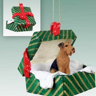 Airedale Terrier Dog Green Gift Box Holiday Christmas ORNAMENT