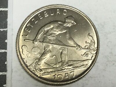 LUXEMBOURG 1947 1 Franc coin uncirculated