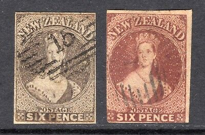 NEW ZEALAND 1862-4 6d black- & red-brown wmk Star imp U, faults, SG41,3 cat £240