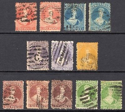 NEW ZEALAND 1864-71 FFQ wmk Star p12½ values to 1s U, SG 110//125 cat £675