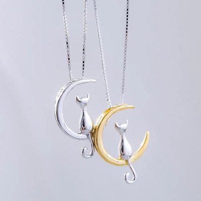 "Gold Sterling silver Moon Cat Love pendant necklace 18"" Chain Gift Christmas L17"