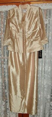 NWT Woman's Formal Long Gold Dress & Jacket, J. R. Nites,, Size 12