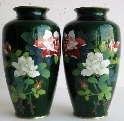 Fine Old Pair of Japanese Ginbari Cloisonne Rose Flowers Decorated Vases