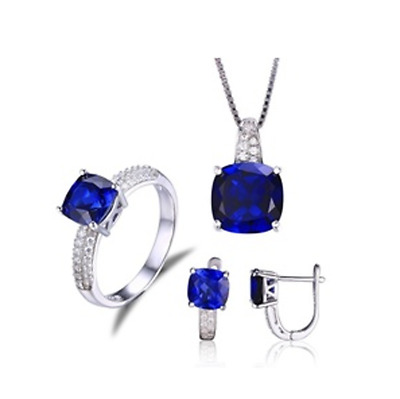 925 Silver Crystal Earrings &Pendant Necklace &Ring Set Gemstone Jewelry Pretty