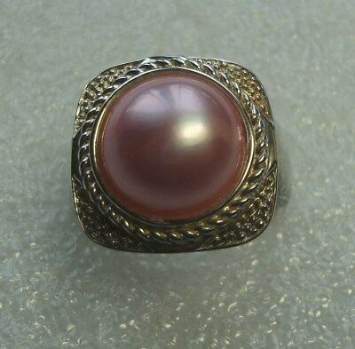 Vintage Signed VW Victoira Weick  Sterling Silver 925 Pink Pearl Ring 5201765