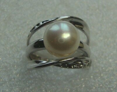 Vintage Signed IPS Sterling Silver 925 9mm White Pearl Ring 5201767