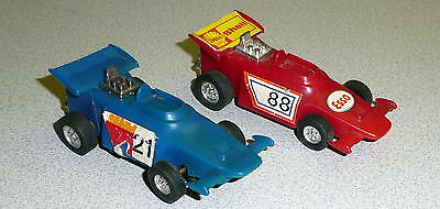 Vintage  Lot Of 2 INDY Slot Cars ESSO SHELL Decals 1/43 Both Run Well!