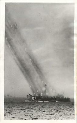 WWII USS LSM(R)-197 Firing Rockets at Japanese Positions on Okinawa Press Photo