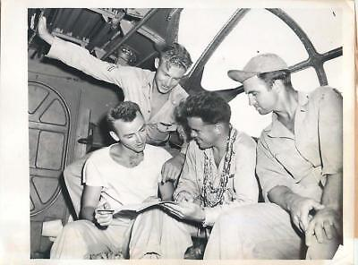 WWII US Pilot w/ Catalina Crew after Rescue -Pilot Crashed twice in 8 Days Photo
