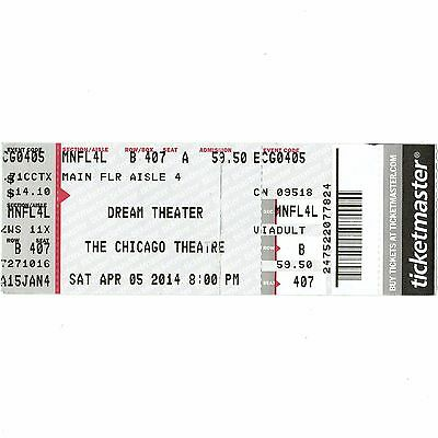 DREAM THEATER Full Concert Ticket Stub CHICAGO IL 4/5/14 ALONG FOR THE RIDE TOUR