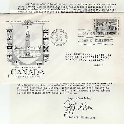Canada to Uruguay 5c Charlottetown REPLACEMENT FIRST DAY COVER Contents 1964
