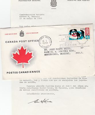 Canada to Uruguay 6c Curling Sports REPLACEMENT FIRST DAY COVER Contents 1969