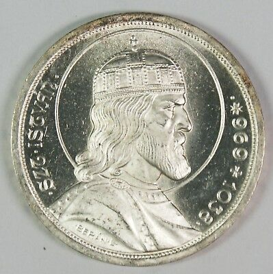 1938 Hungary 5 Pengo St. Stephen 900th Anniversary Silver Coin