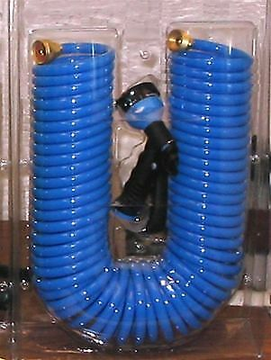 Orbit Blue 50' Coil Hose with 6 Pattern Spray Nozzle Coiled Water Hose - 27891