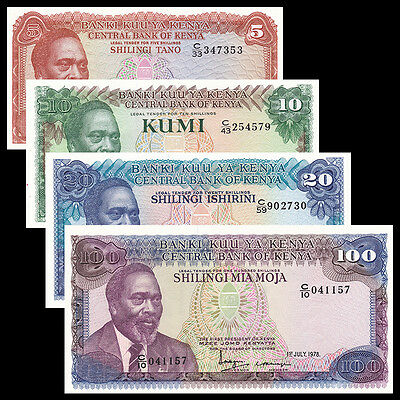 Kenya set 4 PCS, 5 10 20 100 Shillings, 1978, P-15 16 17 18, UNC