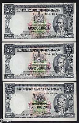NEW ZEALAND P-160d. 5 Pound (1956-57) Fleming.  Last Prefix 12L. UNC-CONSEC Trio