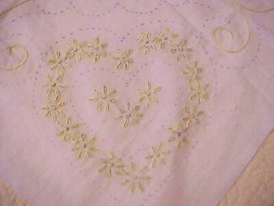 6 Partially Embroidered Quilt Blocks, Yellow Hearts And Flowers