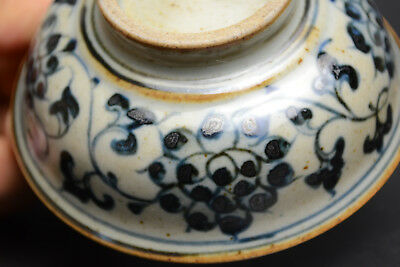 Antique Collectible Fine Blue And White Porcelain Noble Intact Tea Bowl