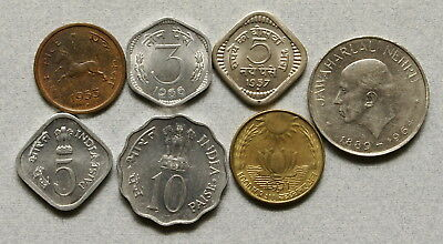 INDIA Republic Pice, 3,5,10,20 Paisa, Rupee 1953-1976 - Lot of 7 Coins, NR!