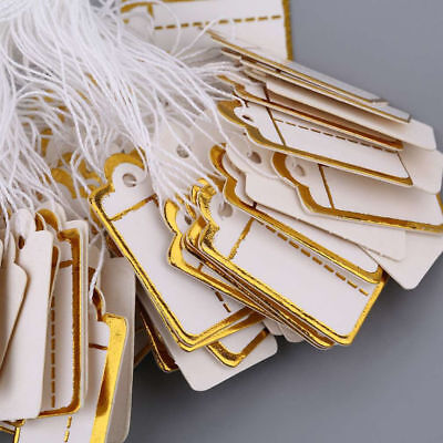 Wholesale 100Pcs Gold Price Tag Retail Label Tie String Jewelry Watch Display