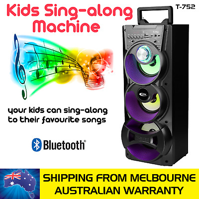 Black Kids Extra Bass Sing Along Machine - Bluetooth Speaker With 2 Microphone
