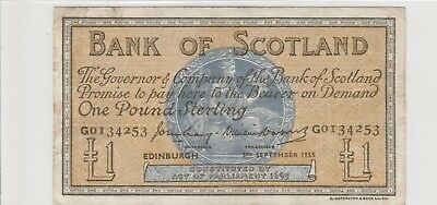 1955 £1 One Pound The  Bank Of Scotland  Edinburgh  Note Circulated 253