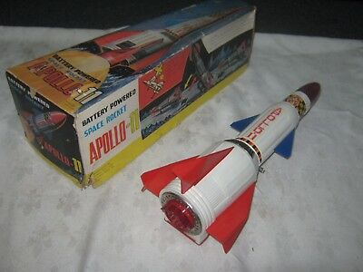Vintage Boxed Nomura Apollo 11 Tinplate & Plastic Battery Operated Space Rocket