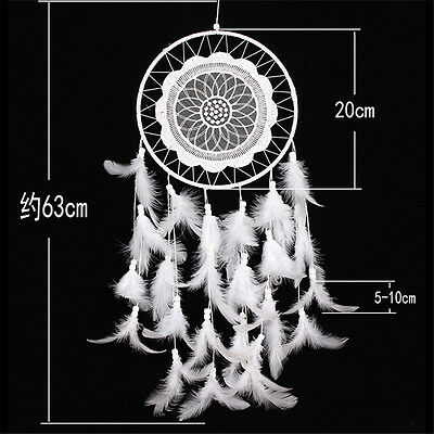 Handmade Dream Catcher with Feather Wall Hanging Decoration Ornament White