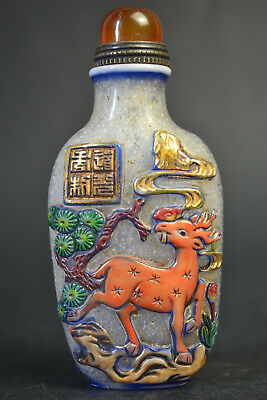 China Collectible Old coloured glaze monkey Pick a peach & deer Snuff Bottle