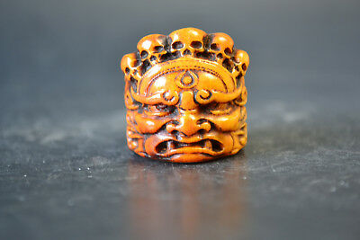 Fine Vintage Noble Old Bone Carving devil wonderful Totem Ring Decor