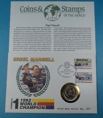 1993 First Day Cover Isle of Man Nigel Mansell F1 World Champion  £2 Coin