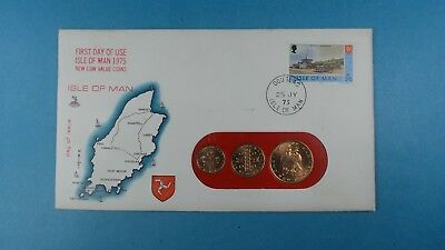 1975 First Day Cover Isle Of Man  Coins First Day Of Use  Collection