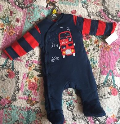 Boys New Wadded Sleep All In One Winter Suit Big City 3/6 Months £16 Mothercare