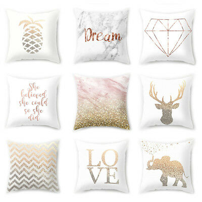 New Gold Shining Printed Throw Pillow Case Cushion Cover Home Room Sofa Decor