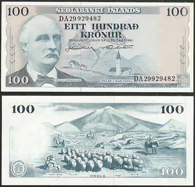 ICELAND - 100 kronur 1961 KM# 44a Europe banknote - Edelweiss Coins