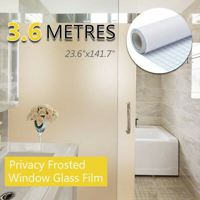 60cmx3.6m Frosted Window Door Tint Glass Privacy PVC Film Home Office Bathroom