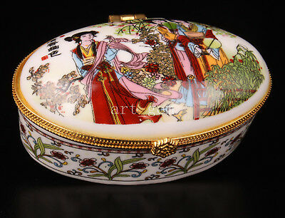 Jewelry Box China's Porcelain Beautiful Spring Scenery Adorns Collectable