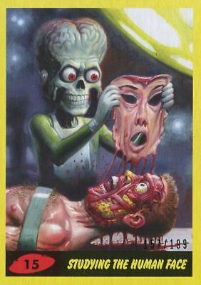 Mars Attacks The Revenge Yellow [199] Base Card #15 Studying the Human Face