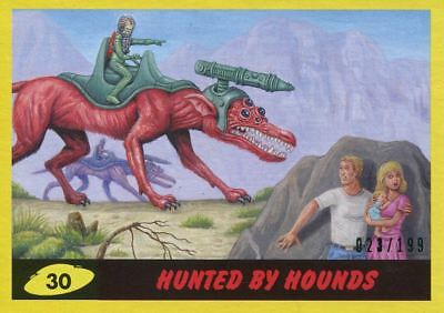 Mars Attacks The Revenge Yellow [199] Base Card #30 Hunted by Hounds